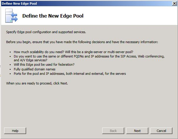 Define the New Edge Pool dialog box