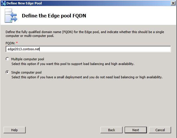 Define the Edge Pool FQDN dialog box