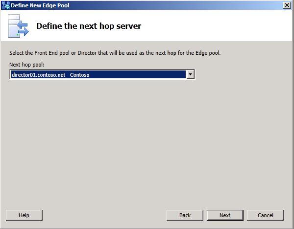 Define the Next Hop dialog box