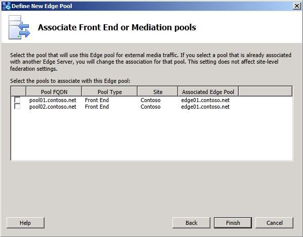 Associate Front End Pools dialog box