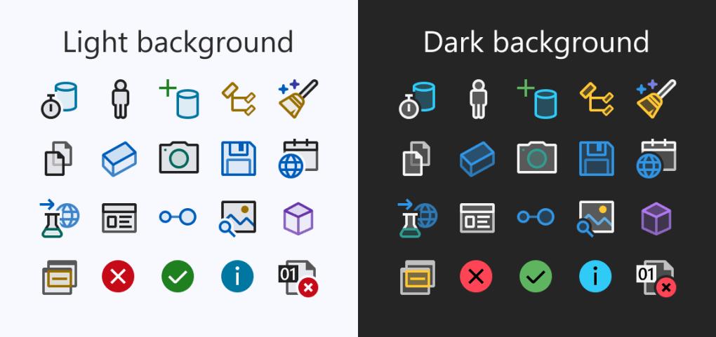 Ví dụ về các biểu tượng mới với nền tối và sáng