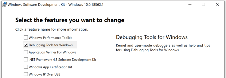 sdk download options showing just the debugger box checked
