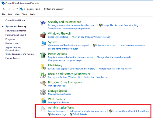 Image result for Open Control Panel -> System and Security -> Administrative Tools -> Defragment and Optimize Drives