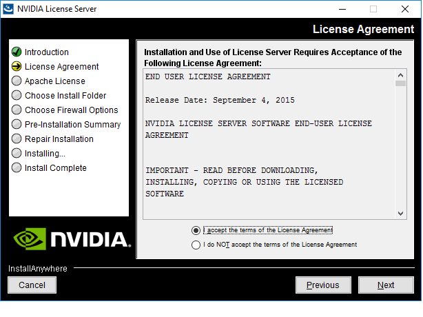 Screen capture showing license agreements for the license server on Windows.