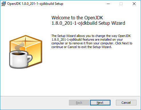 Screen capture showing the OpenJDK setup wizard.