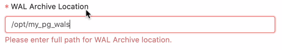 Specify WAL archive location