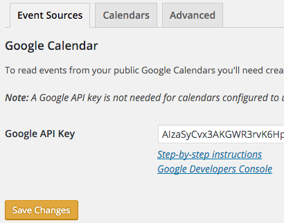 simple calendar plugin settings google calendar api key