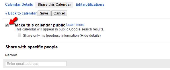 Google - Make this calendar public