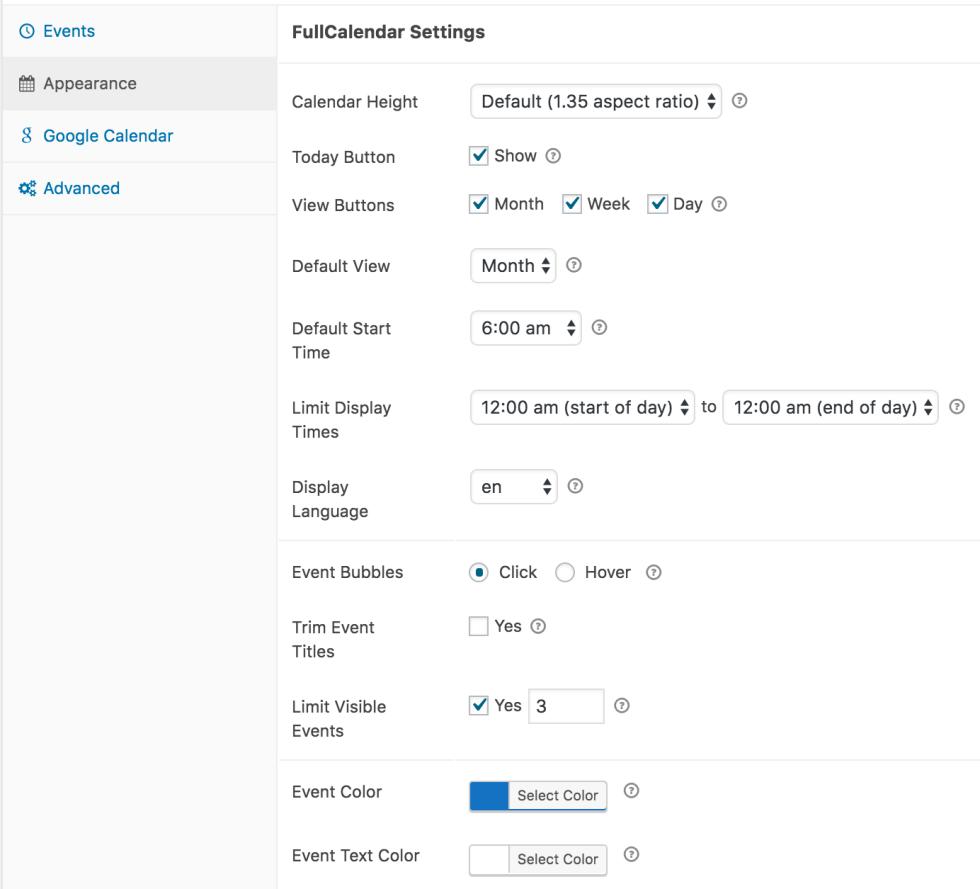 simple calendar fullcalendar settings
