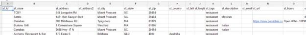 excel or googlesheets format