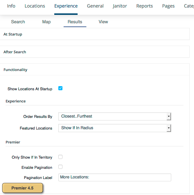 Experience Results Functionality settings