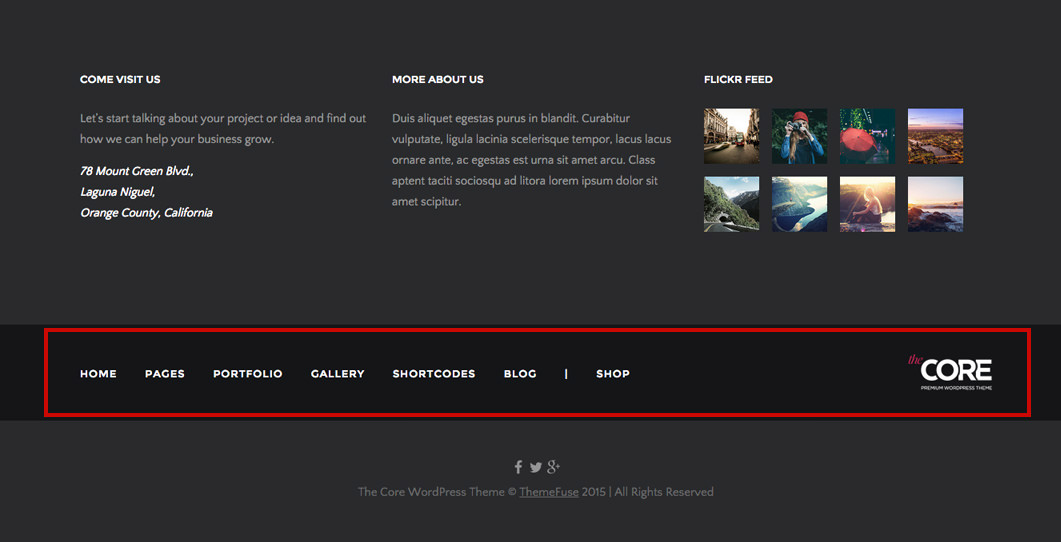 Now everyone adds important page links like about, contact, services, blog add on footer section. The Footer: Areas and Widgets | ThemeFuse