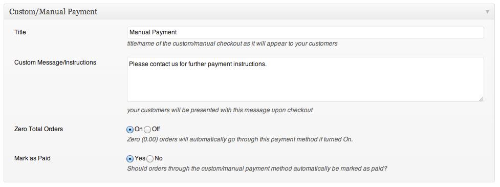 wordpress shopping cart plugin custom manual payment method