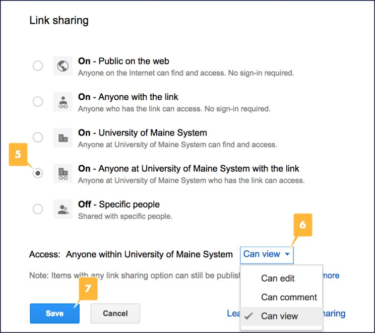 Screenshot showing the location of different link sharing settings for a Google Doc