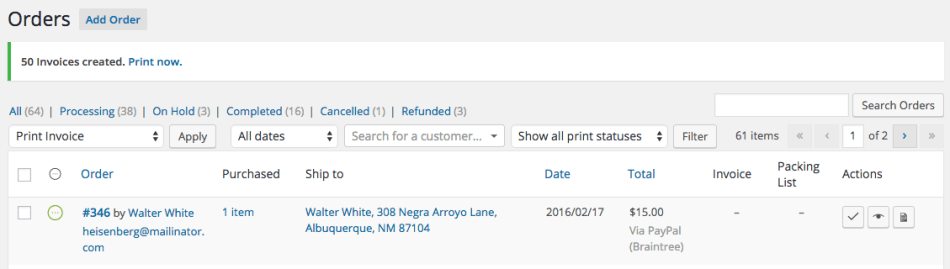 WooCommerce Print Invoices / Packing Lists bulk action done