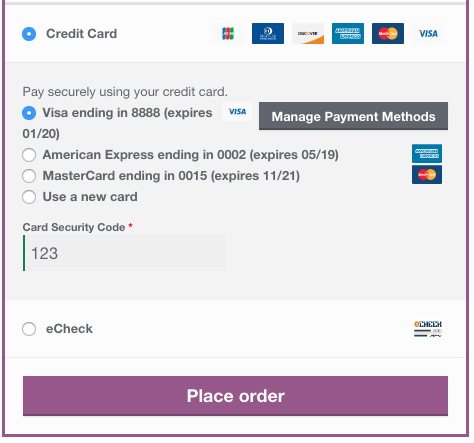 WooCommerce Elavon saved card checkout