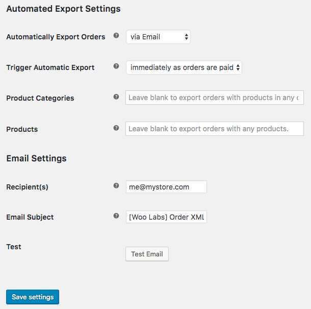 WooCommerce Customer / Order XML Export: email settings 1