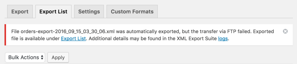 WooCommerce Customer / Order XML Export transfer failure