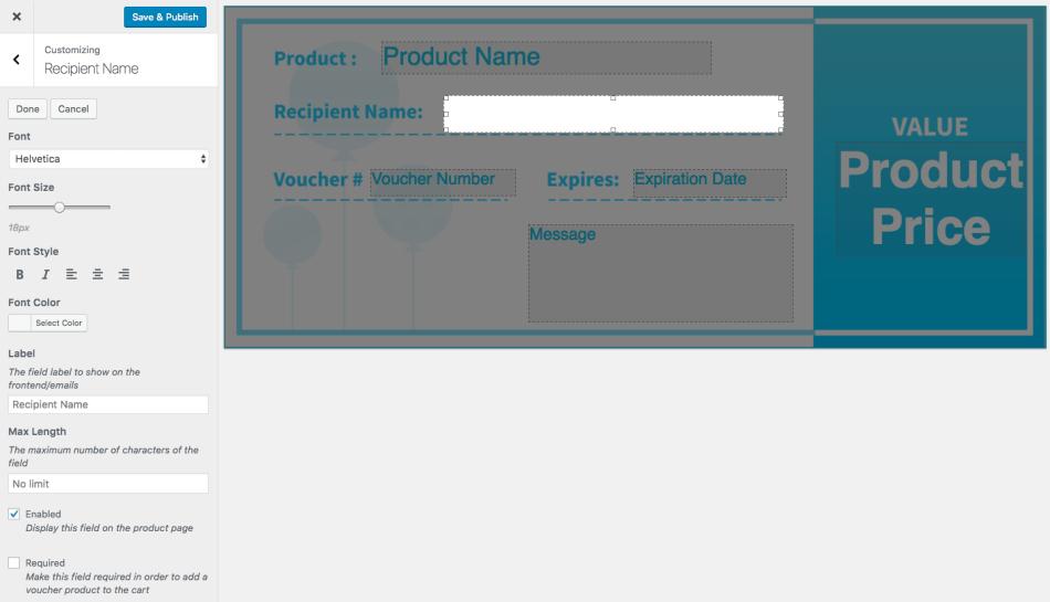 WooCommerce PDF Product Vouchers: Edit voucher template