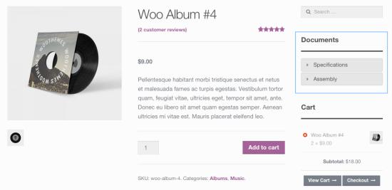 WooCommerce product documents widget