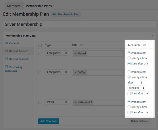 WooCommerce Memberships content dripping with trial