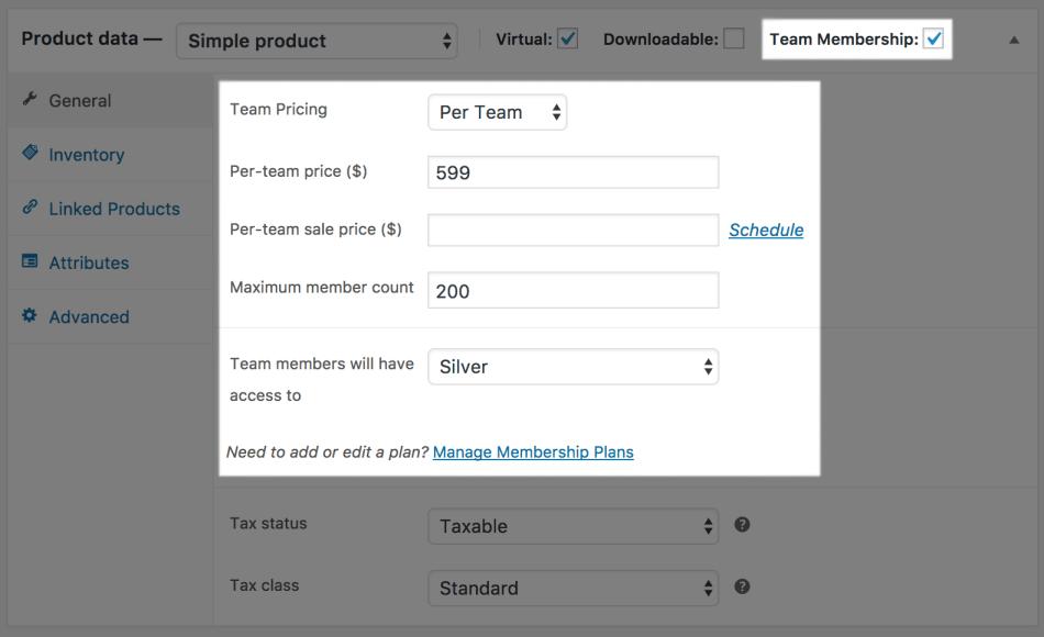 Teams for WooCommerce Memberships: per team priced team