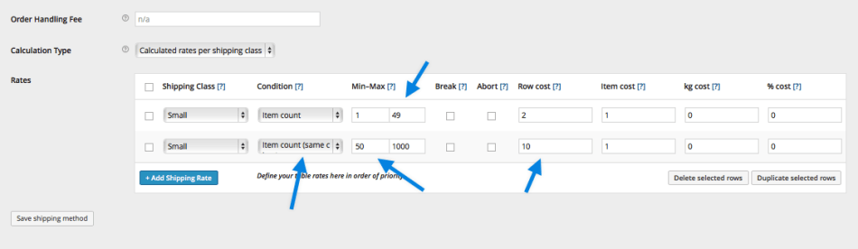 Table Rate Shipping Example 2