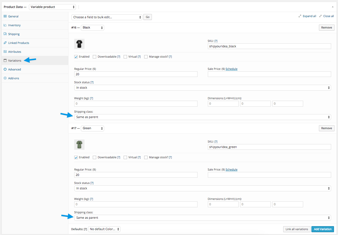 WooCommerce Shipping Classes - Product Variations Shipping Class