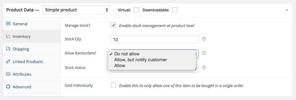 WooCommerce Simple Product - Inventory Tab