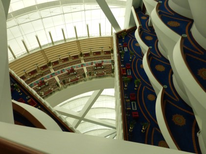Looking down at floors from suite
