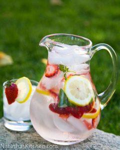 eau aromatisée fraises, citron et basilic