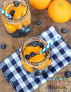 eau aromatisée orange bleuets