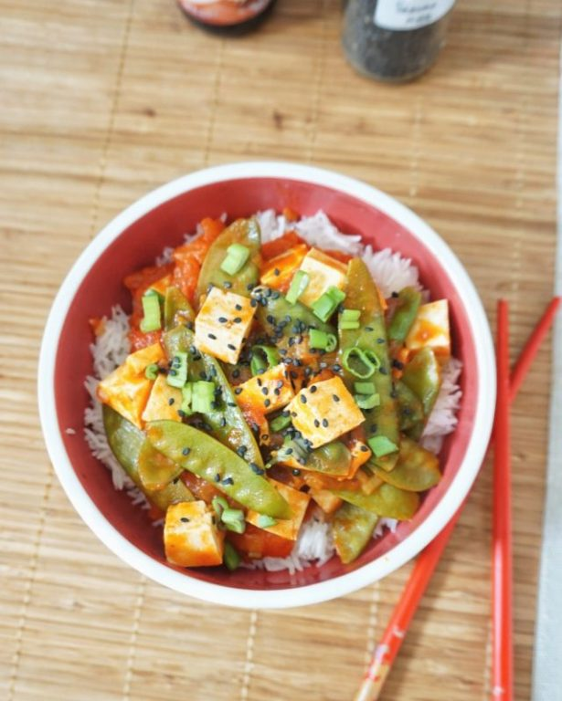 pois gourmands sautés au tofu recette