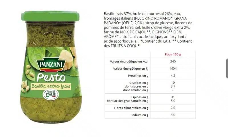 sauce pesto basilic extra frais de Panzani