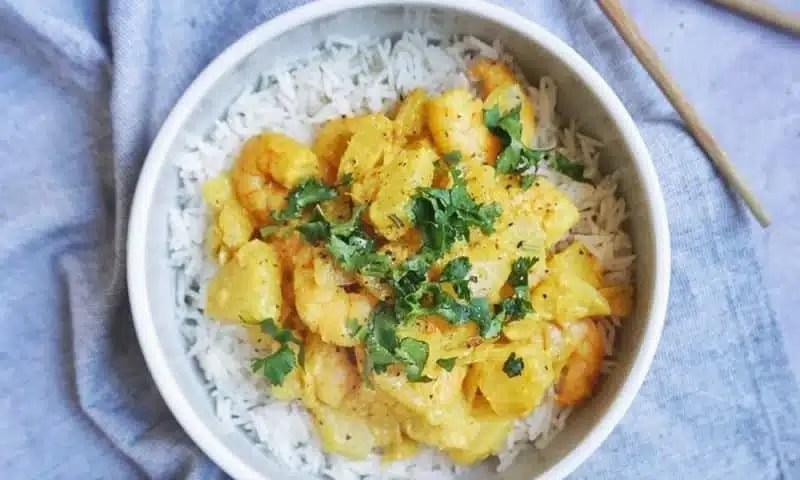 crevettes sautées à l'ananas recette