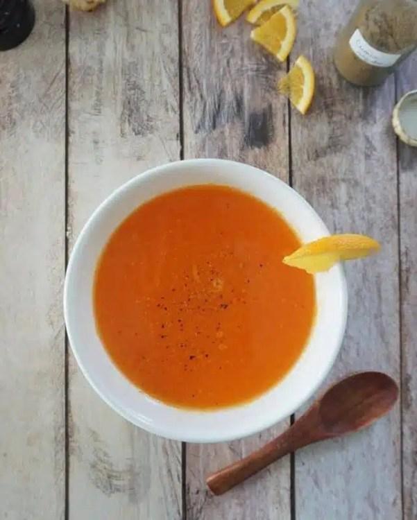 soupe de carottes à l'orange recette