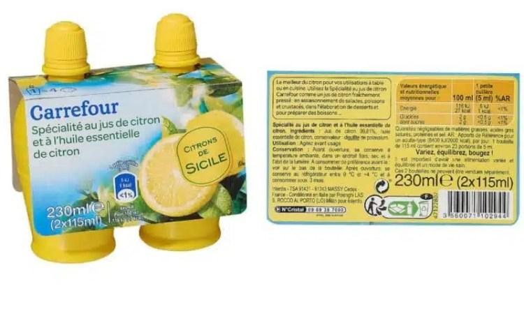 jus de citron en bouteille carrefour
