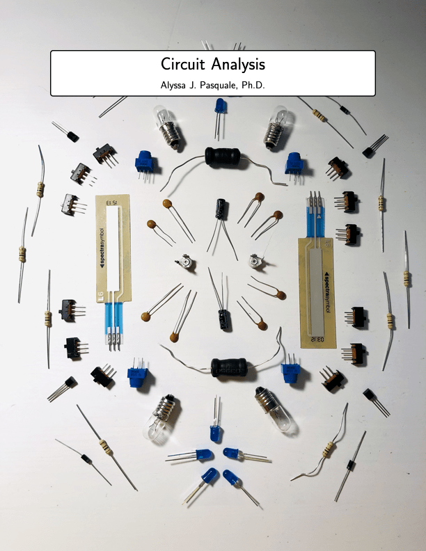 Cover of the circuit analysi textbook, click to go to a PDF copy.