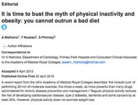 It is time to bust the myth of physical inactivity and obesity