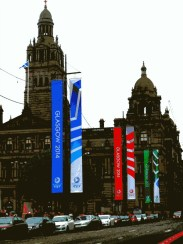 Banners in George Square during the Glasgow 2014 Commonwealth Games