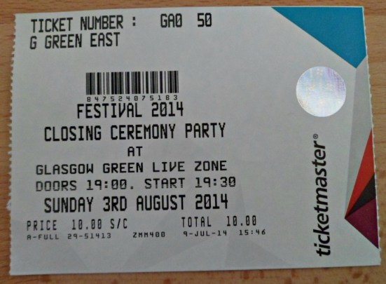 Ticket for Glasgow 2014 closing ceremony party