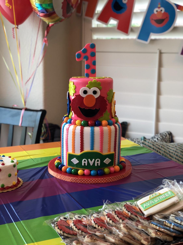 Marvelous Avas First Birthdaya Sesame Street Celebration Doctor Enough Personalised Birthday Cards Petedlily Jamesorg