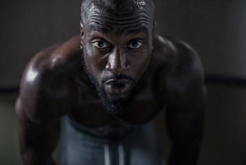 sweating black man