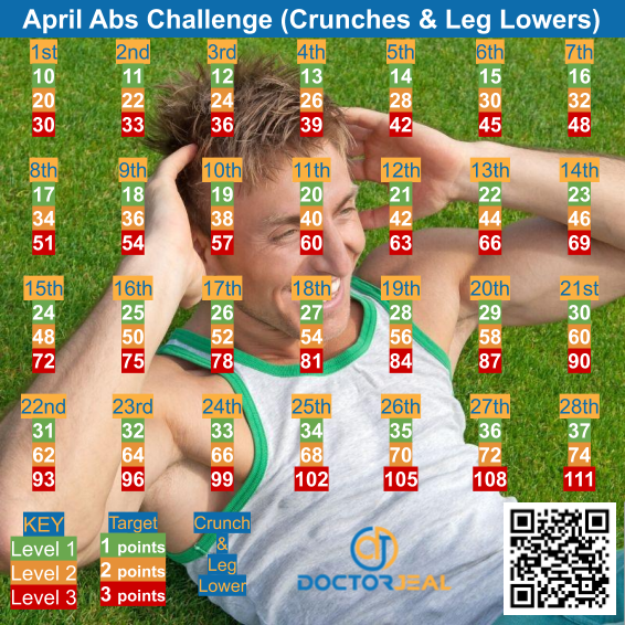 28 Day Abs Exercise Challenge - Male - DoctorJeal