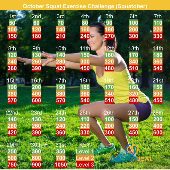 Squatober Squat Challenge Monthly Target Guide