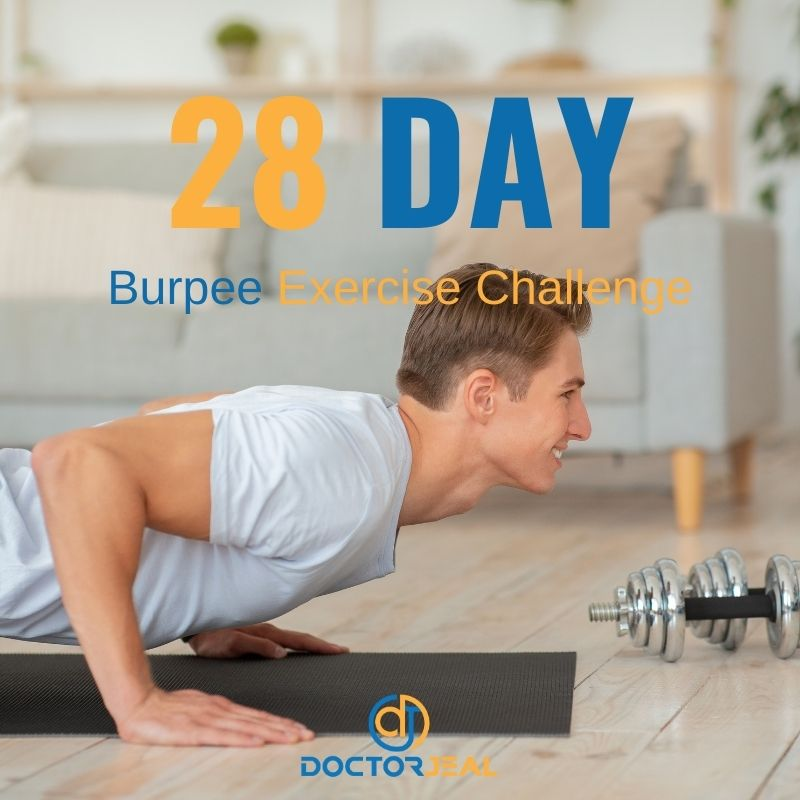 Man doing burpees with text saying 28 day burpee challenge