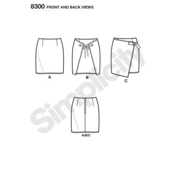 simplicity-skirt-pants-pattern-8300-front-back-view