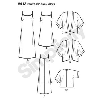simplicity-kimono-dress-miss-pattern-8413-front-back-view