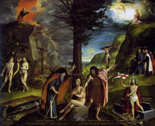 An Allegory of the Old and New Testaments by Hans Holbein the younger cir 1532-1535