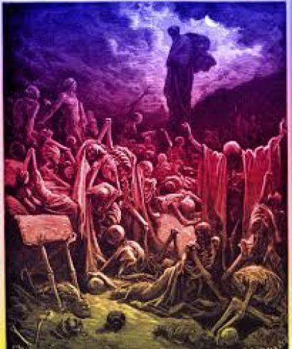 Valley of the Dry Bones of Ezekiel by Gustave Dore. Cir 1850